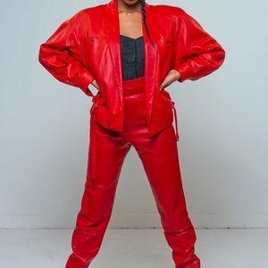 Red Genuine Leather Pant Suit -Thriller